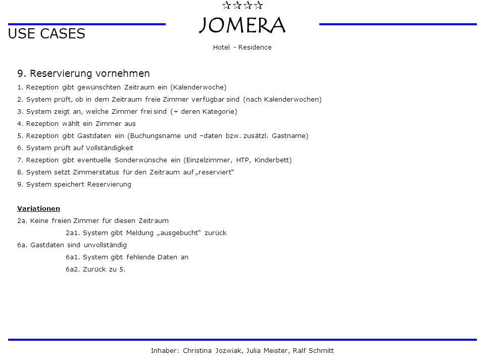  JOMERA Hotel - Residence Inhaber: Christina Jozwiak, Julia Meister, Ralf Schmitt USE CASES 9. Reservierung vornehmen 1. Rezeption gibt gewünschte