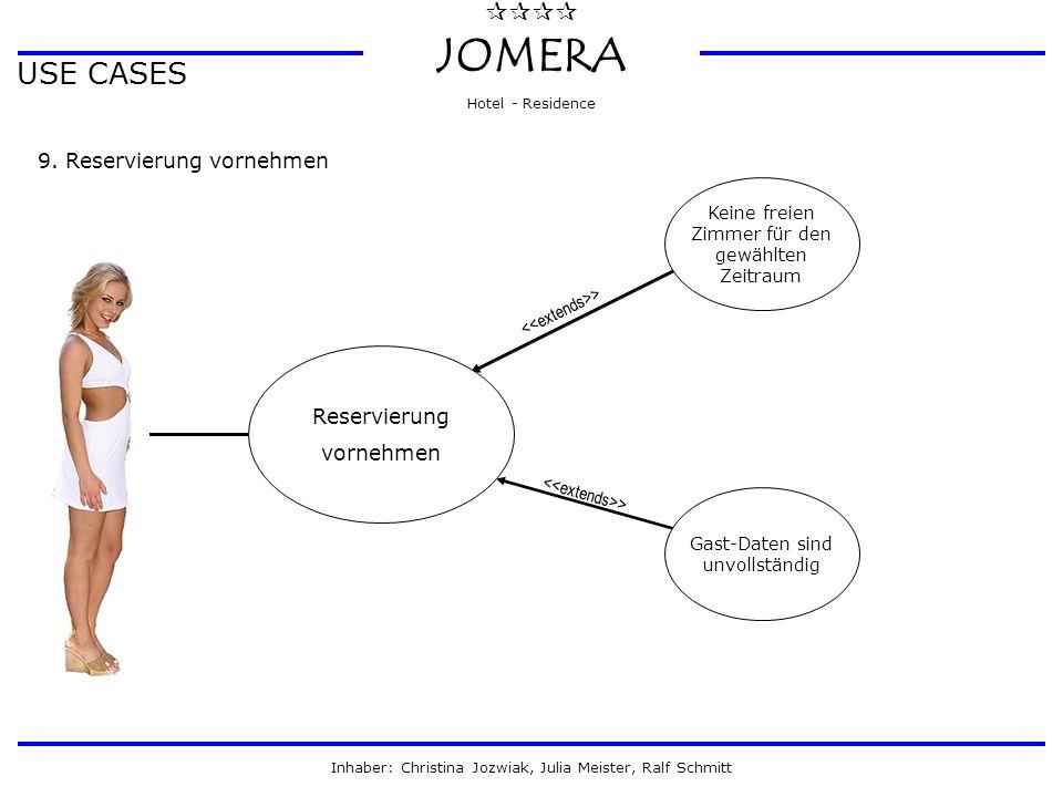  JOMERA Hotel - Residence Inhaber: Christina Jozwiak, Julia Meister, Ralf Schmitt USE CASES 9. Reservierung vornehmen Reservierung vornehmen Gast-