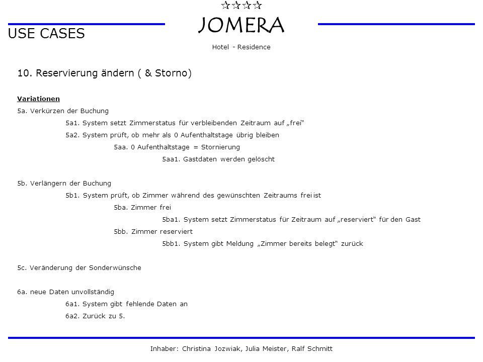  JOMERA Hotel - Residence Inhaber: Christina Jozwiak, Julia Meister, Ralf Schmitt USE CASES 10. Reservierung ändern ( & Storno) Variationen 5a. Ve
