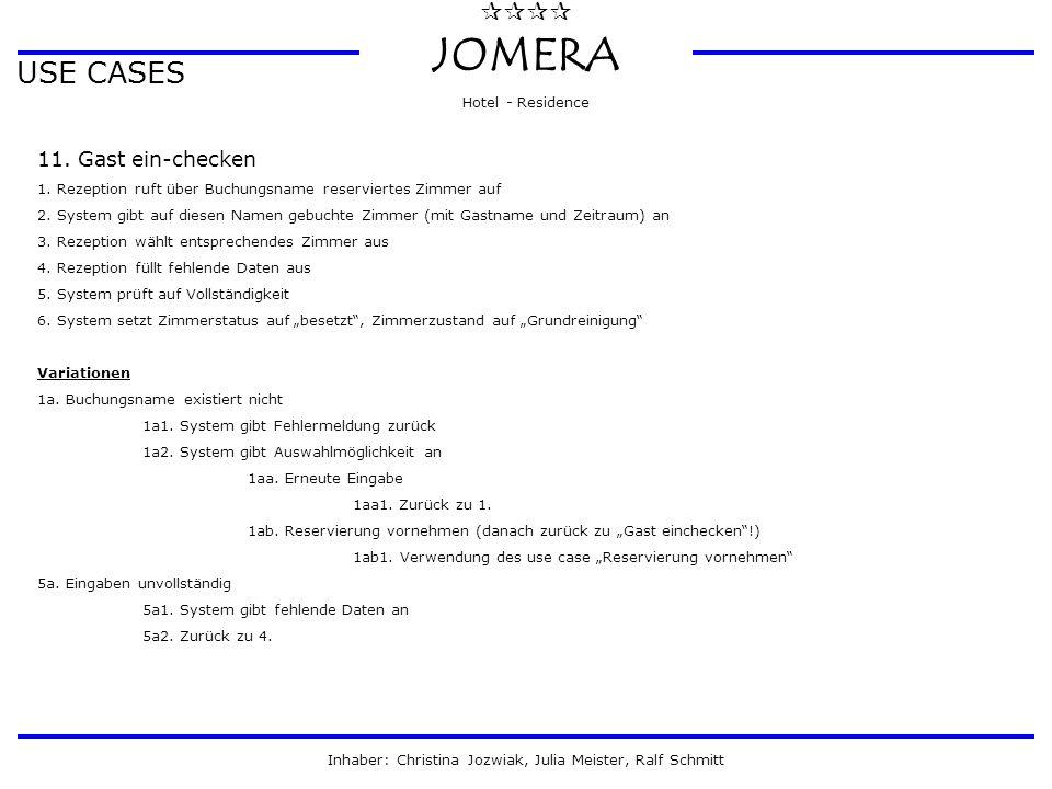  JOMERA Hotel - Residence Inhaber: Christina Jozwiak, Julia Meister, Ralf Schmitt USE CASES 11. Gast ein-checken 1. Rezeption ruft über Buchungsna