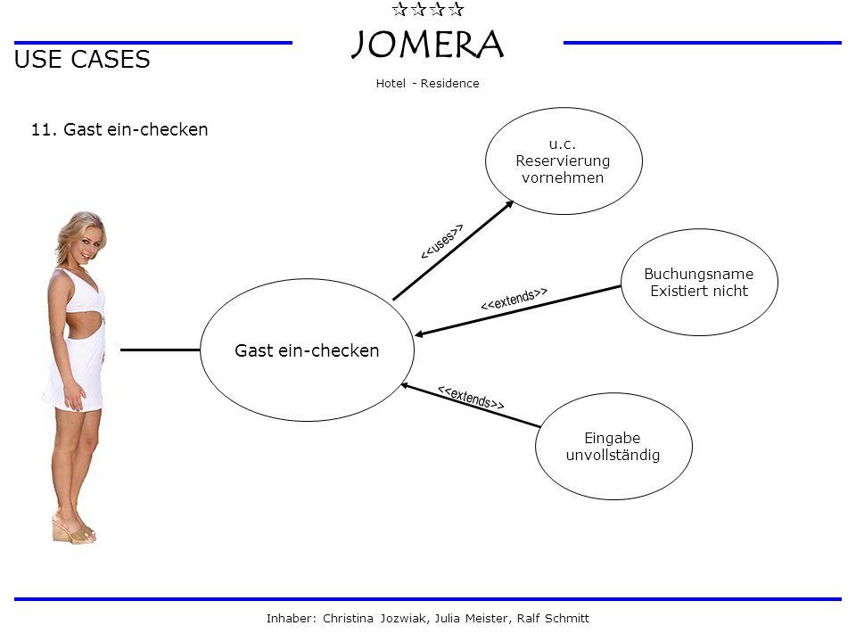  JOMERA Hotel - Residence Inhaber: Christina Jozwiak, Julia Meister, Ralf Schmitt USE CASES 11. Gast ein-checken Gast ein-checken Eingabe unvollst