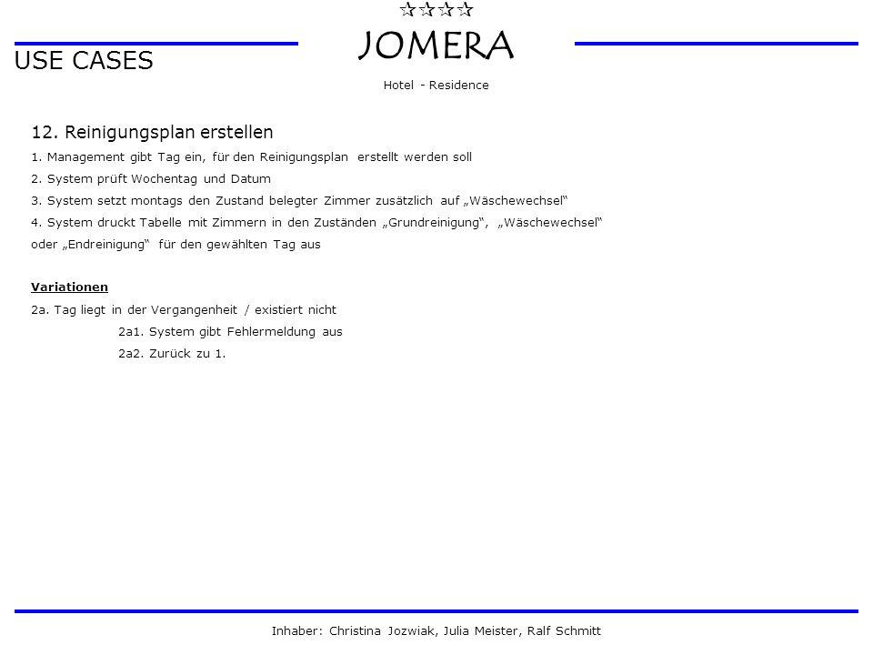  JOMERA Hotel - Residence Inhaber: Christina Jozwiak, Julia Meister, Ralf Schmitt USE CASES 12. Reinigungsplan erstellen 1. Management gibt Tag ei