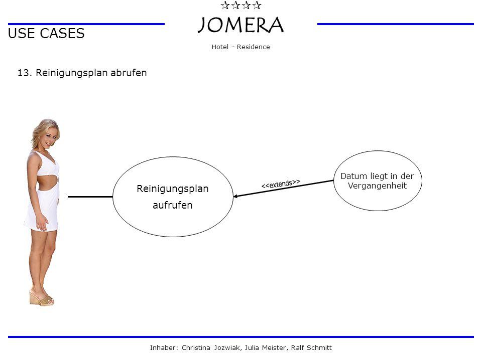  JOMERA Hotel - Residence Inhaber: Christina Jozwiak, Julia Meister, Ralf Schmitt USE CASES 13. Reinigungsplan abrufen Reinigungsplan aufrufen Dat
