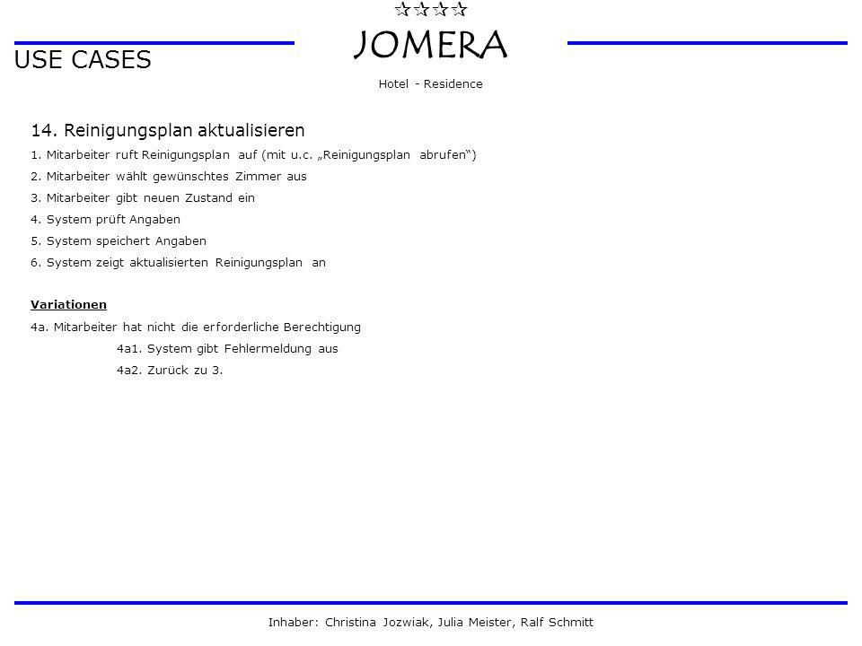  JOMERA Hotel - Residence Inhaber: Christina Jozwiak, Julia Meister, Ralf Schmitt USE CASES 14. Reinigungsplan aktualisieren 1. Mitarbeiter ruft R