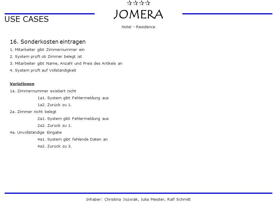  JOMERA Hotel - Residence Inhaber: Christina Jozwiak, Julia Meister, Ralf Schmitt USE CASES 16. Sonderkosten eintragen 1. Mitarbeiter gibt Zimmern