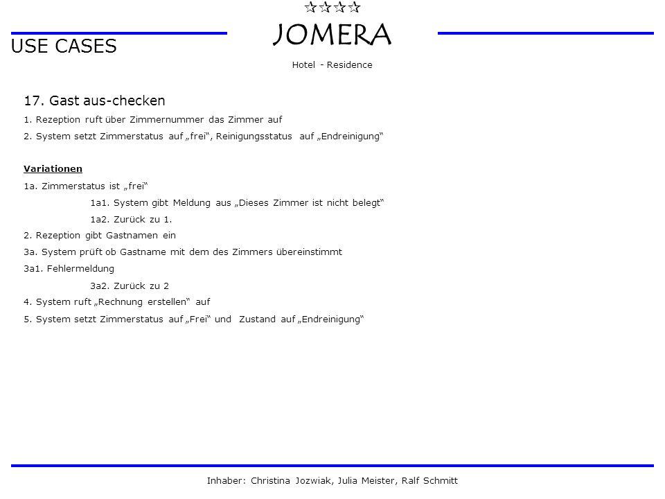 JOMERA Hotel - Residence Inhaber: Christina Jozwiak, Julia Meister, Ralf Schmitt USE CASES 17. Gast aus-checken 1. Rezeption ruft über Zimmernumm