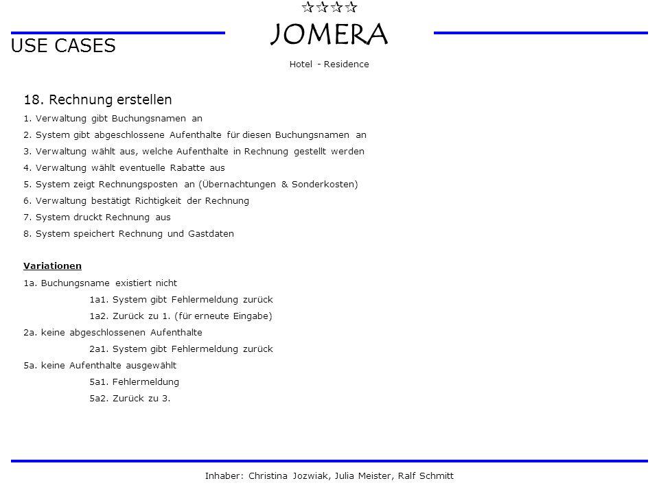  JOMERA Hotel - Residence Inhaber: Christina Jozwiak, Julia Meister, Ralf Schmitt USE CASES 18. Rechnung erstellen 1. Verwaltung gibt Buchungsname