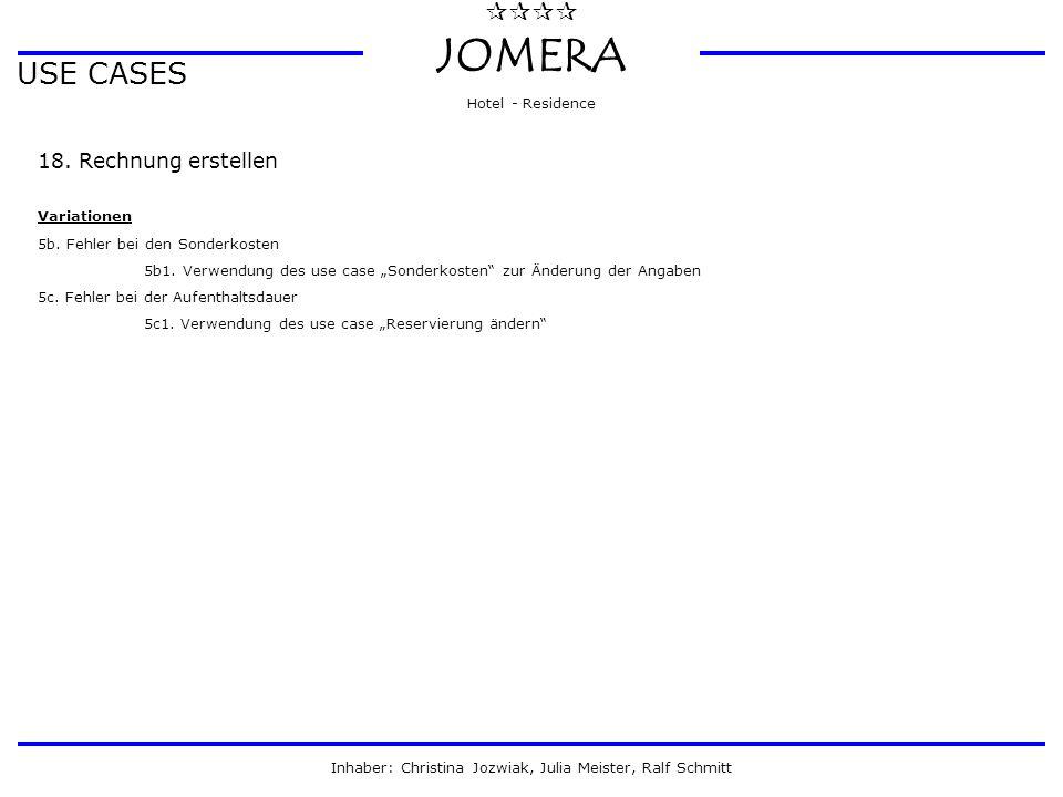  JOMERA Hotel - Residence Inhaber: Christina Jozwiak, Julia Meister, Ralf Schmitt USE CASES 18. Rechnung erstellen Variationen 5b. Fehler bei den