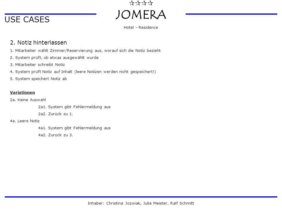  JOMERA Hotel - Residence Inhaber: Christina Jozwiak, Julia Meister, Ralf Schmitt USE CASES 2. Notiz hinterlassen 1. Mitarbeiter wählt Zimmer/Rese