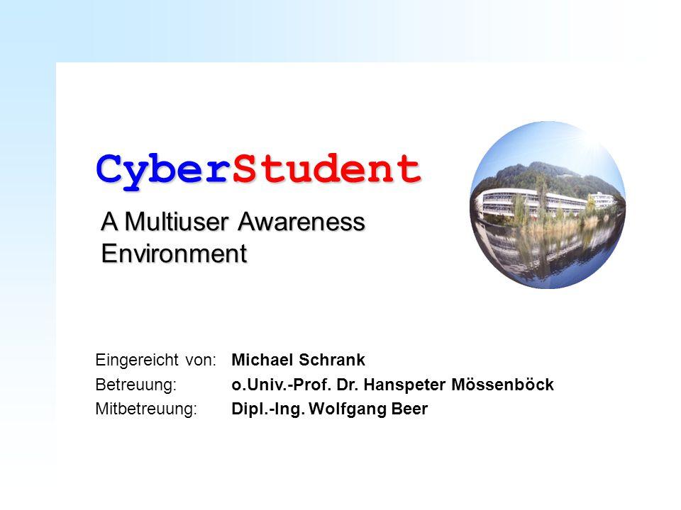 Eingereicht von:Michael Schrank Betreuung:o.Univ.-Prof. Dr. Hanspeter Mössenböck Mitbetreuung:Dipl.-Ing. Wolfgang Beer CyberStudent A Multiuser Awaren
