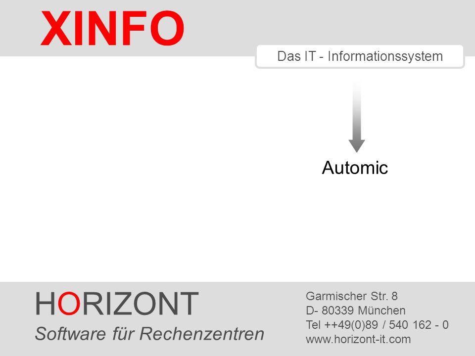 HORIZONT 22 XINFO ® Automic – Runtime Barchart (Job History) Zeitachse Gelb: Aktivierung Grün: Laufzeit Rot: Error Anzahl aktive Jobs, Pläne, Filetransfer etc.