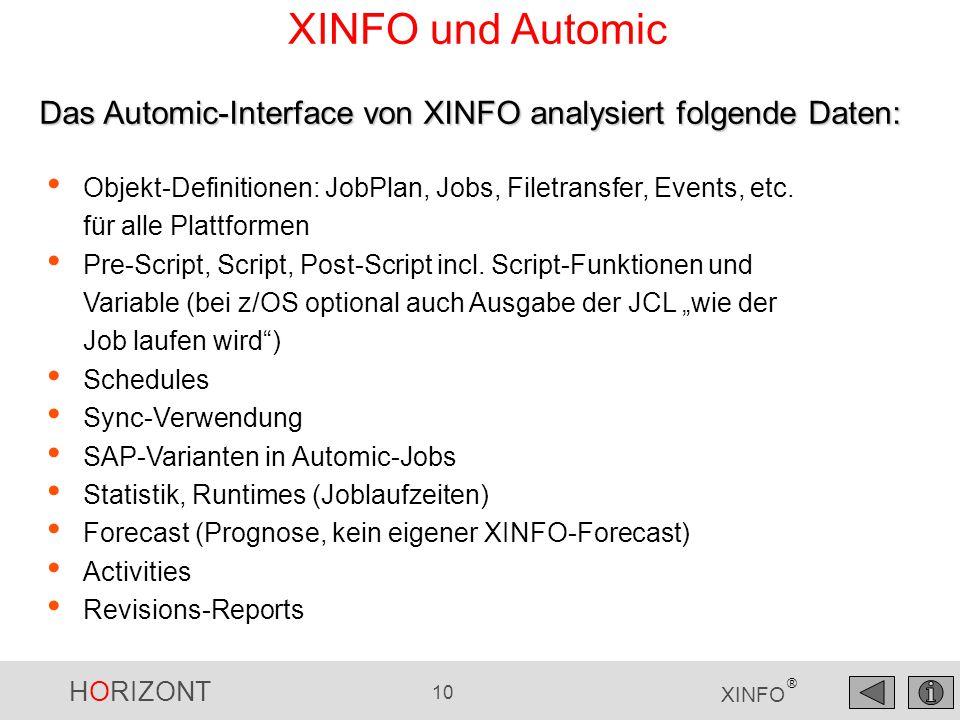 HORIZONT 10 XINFO ® XINFO und Automic Objekt-Definitionen: JobPlan, Jobs, Filetransfer, Events, etc. für alle Plattformen Pre-Script, Script, Post-Scr