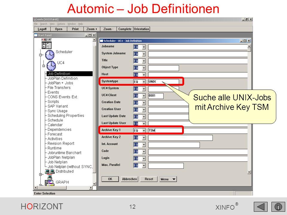 HORIZONT 12 XINFO ® Automic – Job Definitionen Suche alle UNIX-Jobs mit Archive Key TSM