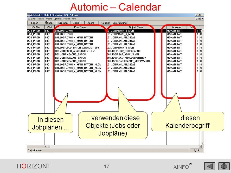 HORIZONT 17 XINFO ® Automic – Calendar In diesen Jobplänen......verwenden diese Objekte (Jobs oder Jobpläne)...diesen Kalenderbegriff