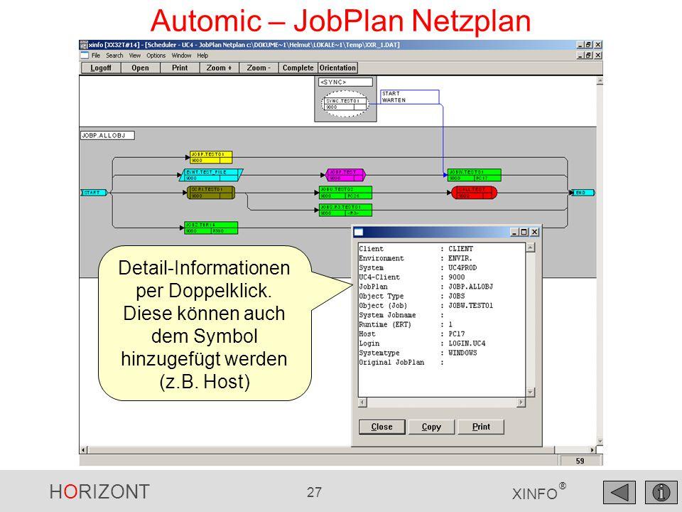 HORIZONT 27 XINFO ® Automic – JobPlan Netzplan Detail-Informationen per Doppelklick. Diese können auch dem Symbol hinzugefügt werden (z.B. Host)