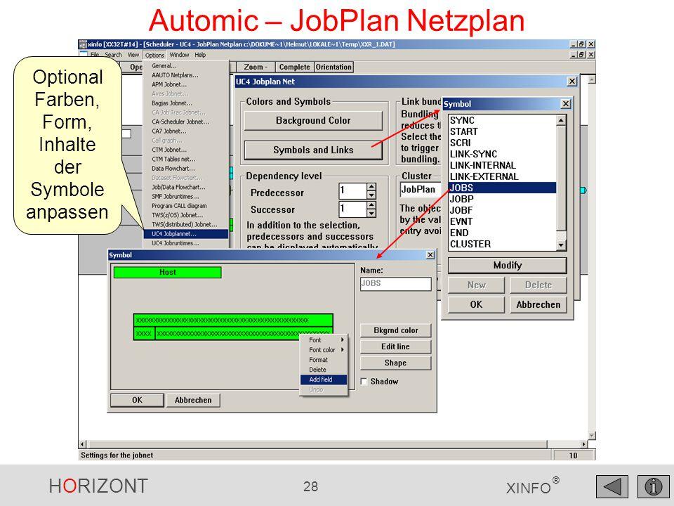 HORIZONT 28 XINFO ® Automic – JobPlan Netzplan Optional Farben, Form, Inhalte der Symbole anpassen