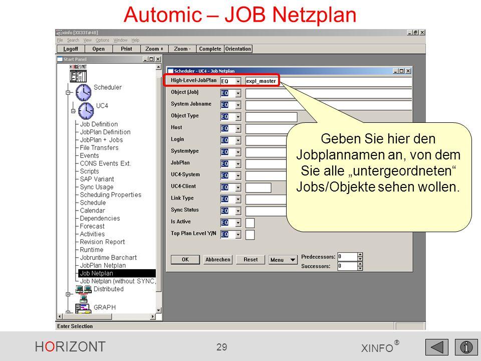 """HORIZONT 29 XINFO ® Automic – JOB Netzplan Geben Sie hier den Jobplannamen an, von dem Sie alle """"untergeordneten"""" Jobs/Objekte sehen wollen."""