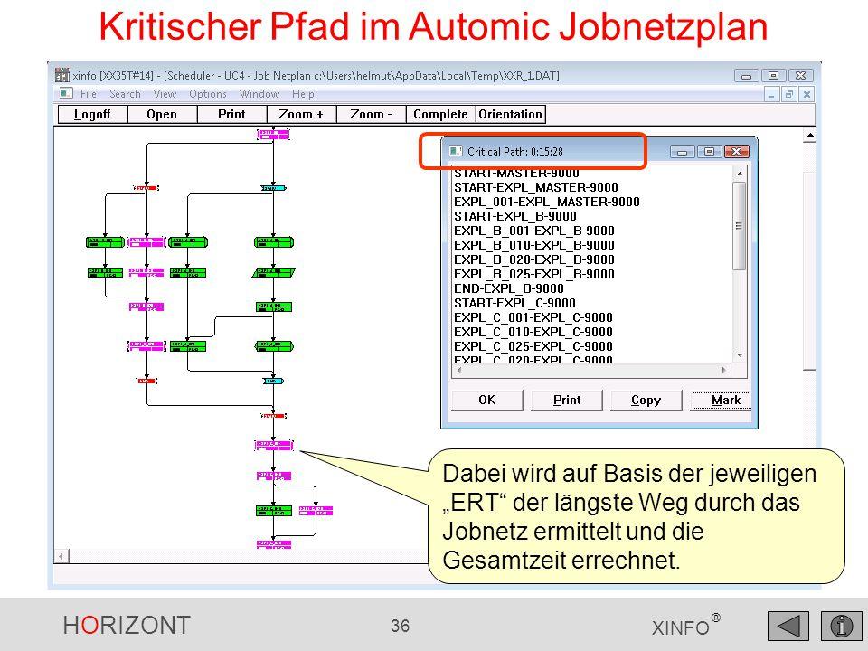 """HORIZONT 36 XINFO ® Kritischer Pfad im Automic Jobnetzplan Dabei wird auf Basis der jeweiligen """"ERT"""" der längste Weg durch das Jobnetz ermittelt und d"""