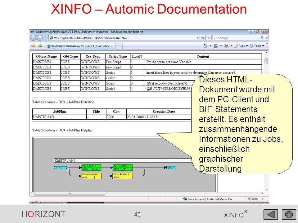 HORIZONT 43 XINFO ® XINFO – Automic Documentation Dieses HTML- Dokument wurde mit dem PC-Client und BIF-Statements erstellt. Es enthält zusammenhängen