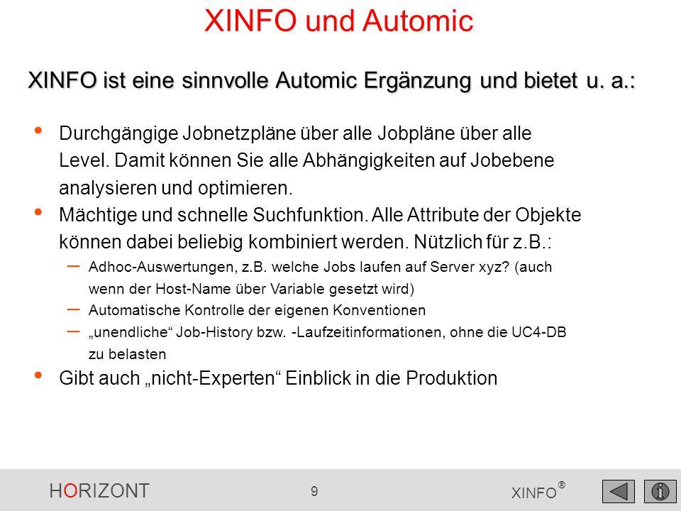 HORIZONT 9 XINFO ® XINFO und Automic Durchgängige Jobnetzpläne über alle Jobpläne über alle Level. Damit können Sie alle Abhängigkeiten auf Jobebene a
