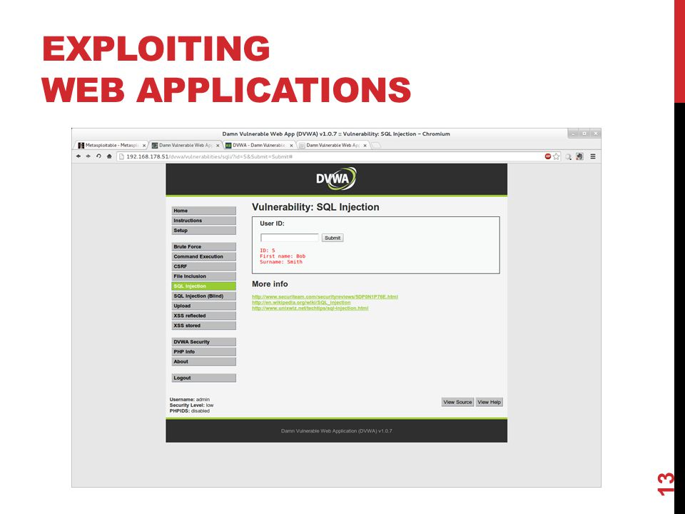 EXPLOITING WEB APPLICATIONS 13