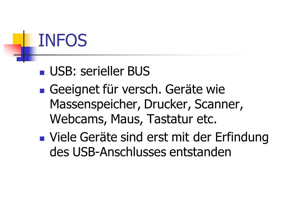 INFOS USB: serieller BUS Geeignet für versch. Geräte wie Massenspeicher, Drucker, Scanner, Webcams, Maus, Tastatur etc. Viele Geräte sind erst mit der