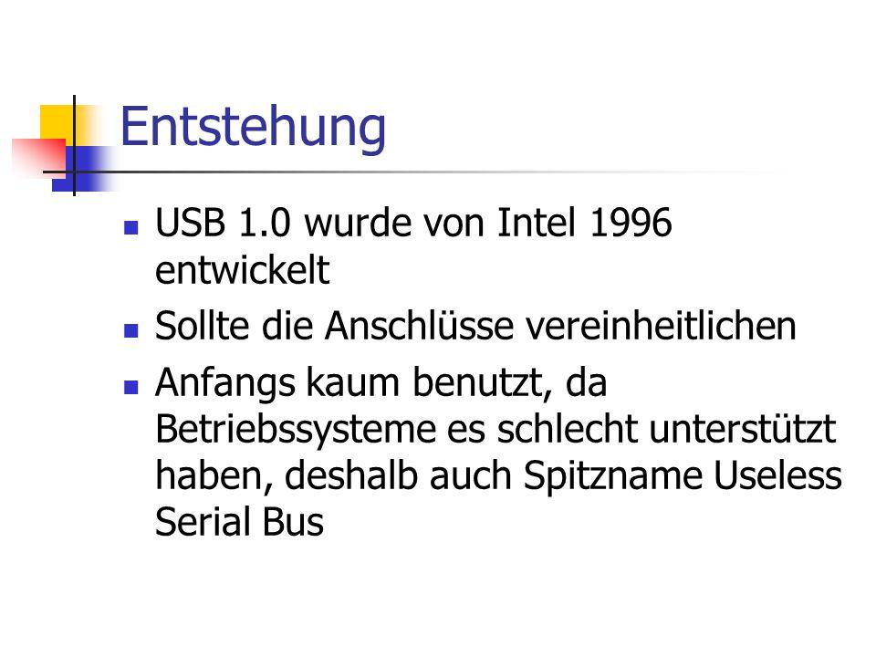 Entstehung USB 1.0 wurde von Intel 1996 entwickelt Sollte die Anschlüsse vereinheitlichen Anfangs kaum benutzt, da Betriebssysteme es schlecht unterstützt haben, deshalb auch Spitzname Useless Serial Bus