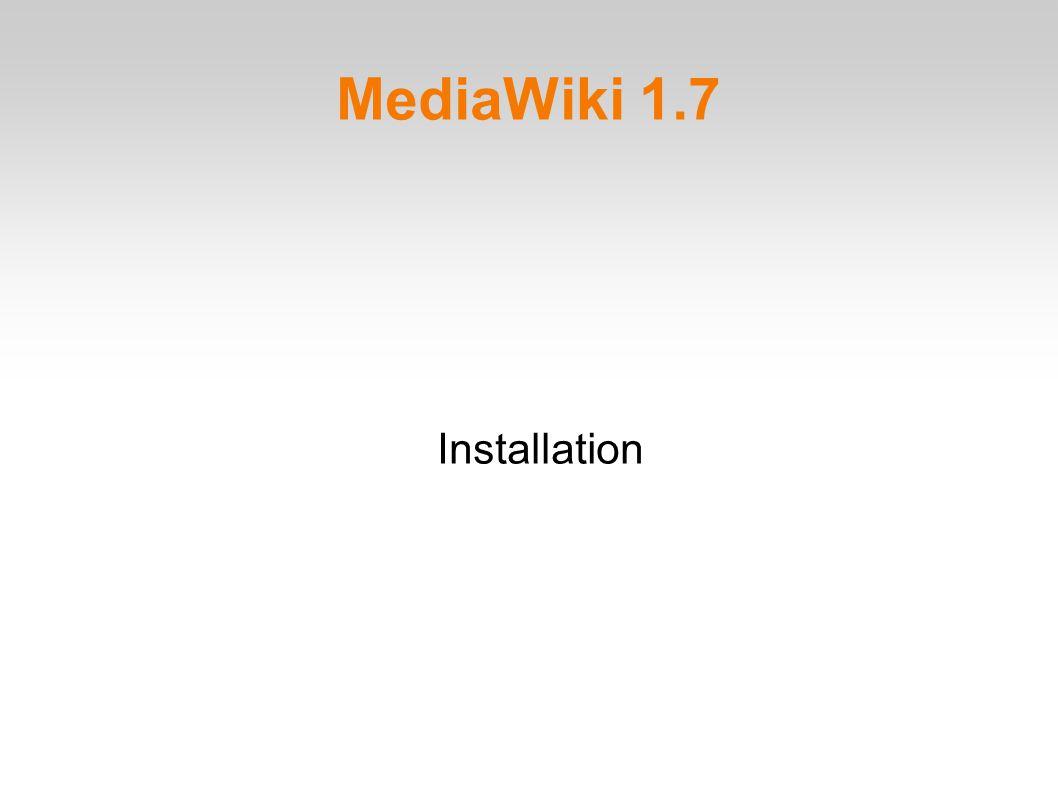 MediaWiki 1.7 Installation