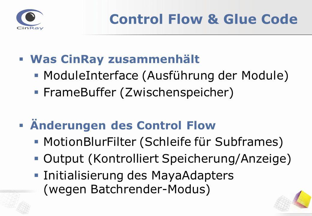 Control Flow & Glue Code  Was CinRay zusammenhält  ModuleInterface (Ausführung der Module)  FrameBuffer (Zwischenspeicher)  Änderungen des Control Flow  MotionBlurFilter (Schleife für Subframes)  Output (Kontrolliert Speicherung/Anzeige)  Initialisierung des MayaAdapters (wegen Batchrender-Modus)