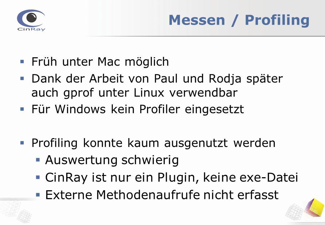 Messen / Profiling  Früh unter Mac möglich  Dank der Arbeit von Paul und Rodja später auch gprof unter Linux verwendbar  Für Windows kein Profiler eingesetzt  Profiling konnte kaum ausgenutzt werden  Auswertung schwierig  CinRay ist nur ein Plugin, keine exe-Datei  Externe Methodenaufrufe nicht erfasst