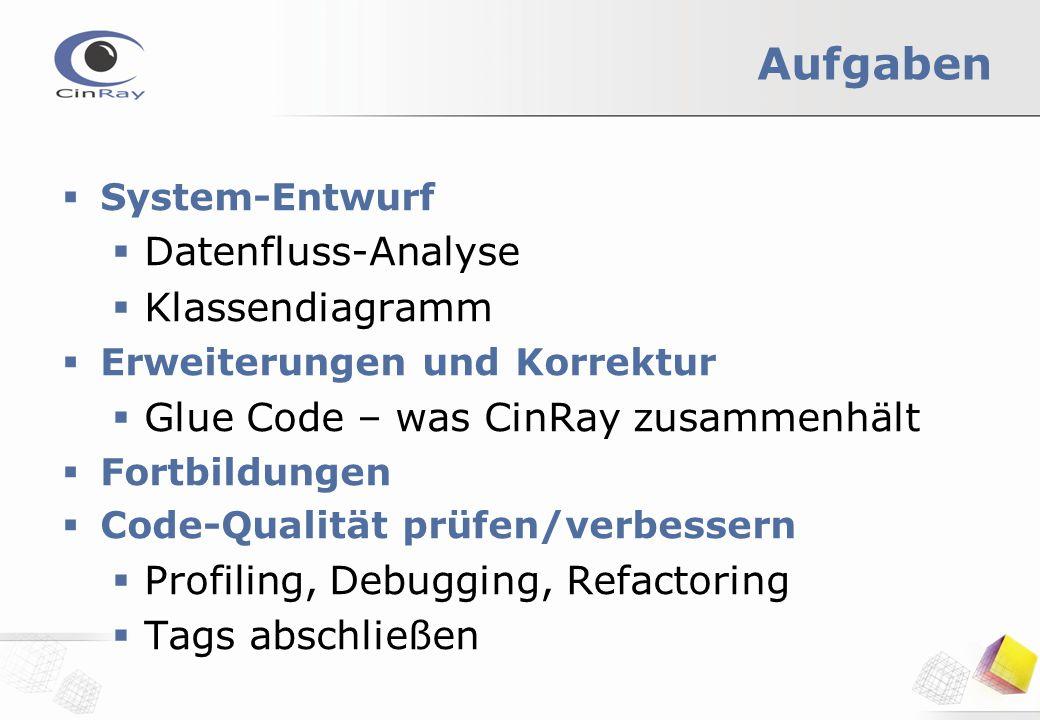 Aufgaben  System-Entwurf  Datenfluss-Analyse  Klassendiagramm  Erweiterungen und Korrektur  Glue Code – was CinRay zusammenhält  Fortbildungen  Code-Qualität prüfen/verbessern  Profiling, Debugging, Refactoring  Tags abschließen