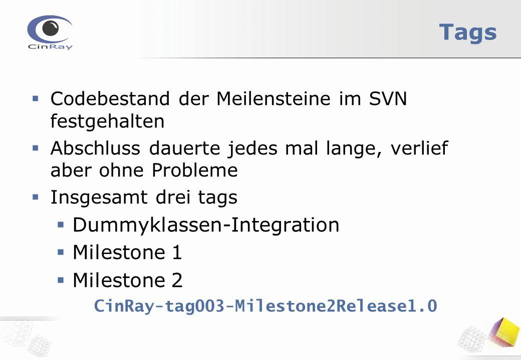 Tags  Codebestand der Meilensteine im SVN festgehalten  Abschluss dauerte jedes mal lange, verlief aber ohne Probleme  Insgesamt drei tags  Dummyklassen-Integration  Milestone 1  Milestone 2 CinRay-tag003-Milestone2Release1.0