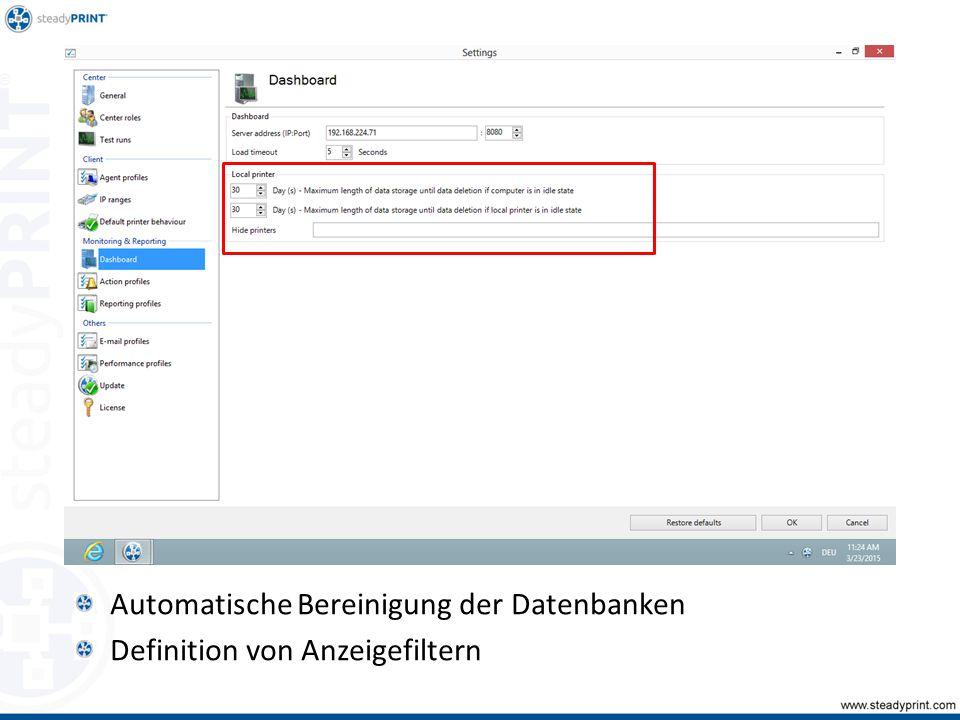 Automatische Bereinigung der Datenbanken Definition von Anzeigefiltern Sp-center-008