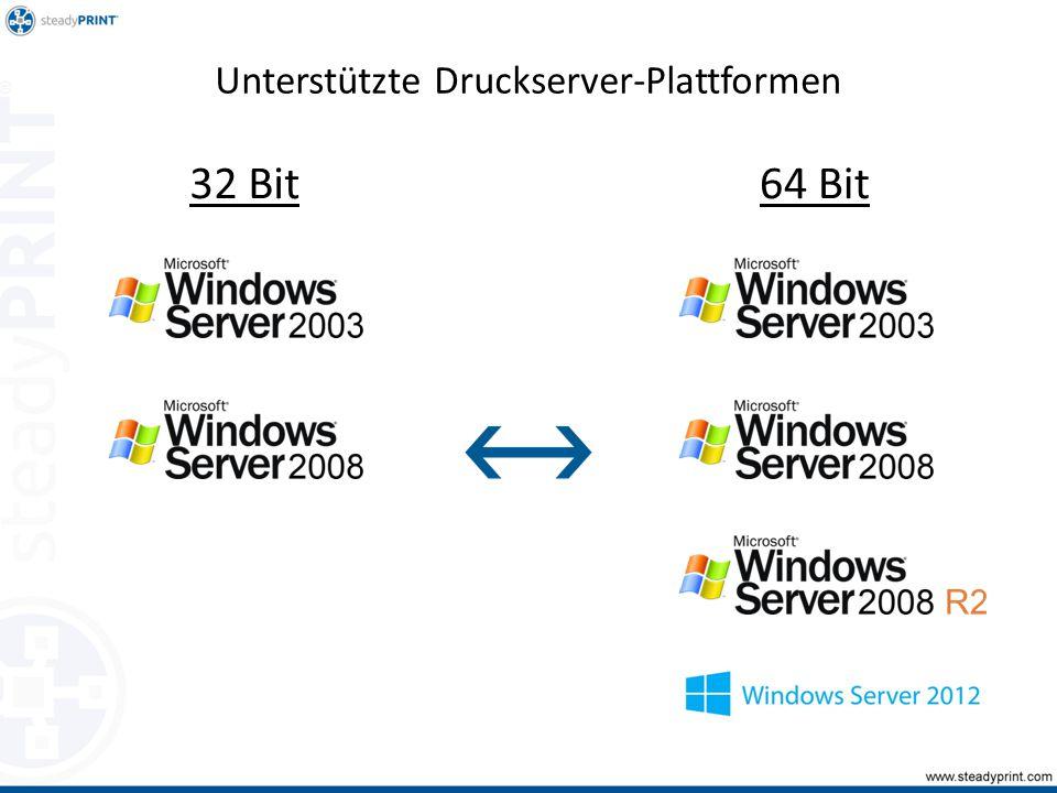Unterstützte Druckserver-Plattformen 32 Bit64 Bit