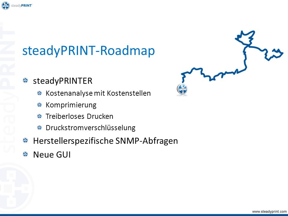 steadyPRINT-Roadmap steadyPRINTER Kostenanalyse mit Kostenstellen Komprimierung Treiberloses Drucken Druckstromverschlüsselung Herstellerspezifische SNMP-Abfragen Neue GUI