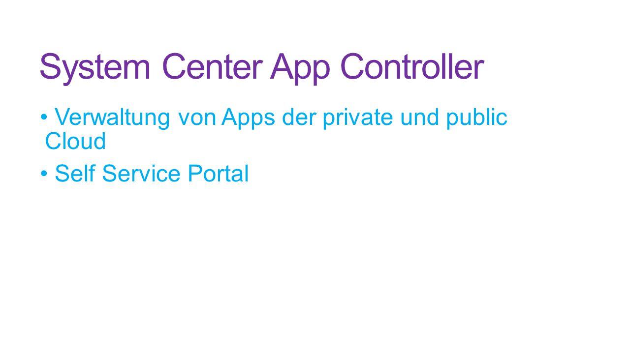 System Center App Controller Verwaltung von Apps der private und public Cloud Self Service Portal