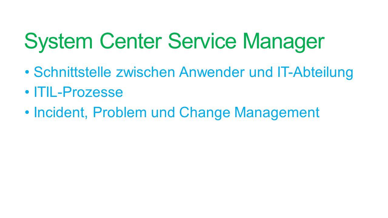 System Center Service Manager Schnittstelle zwischen Anwender und IT-Abteilung ITIL-Prozesse Incident, Problem und Change Management