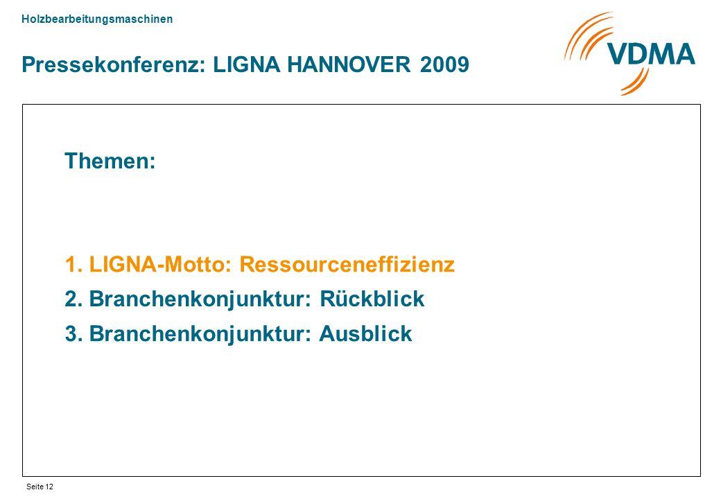 Holzbearbeitungsmaschinen Seite 12 Pressekonferenz: LIGNA HANNOVER 2009 Themen: 1. LIGNA-Motto: Ressourceneffizienz 2. Branchenkonjunktur: Rückblick 3