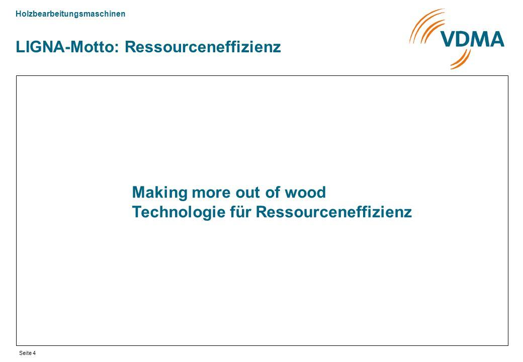Holzbearbeitungsmaschinen Seite 4 Making more out of wood Technologie für Ressourceneffizienz LIGNA-Motto: Ressourceneffizienz