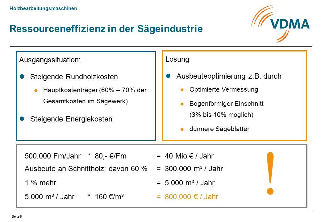 Holzbearbeitungsmaschinen Seite 9 Ressourceneffizienz in der Sägeindustrie Ausgangssituation: Steigende Rundholzkosten Hauptkostenträger (60% – 70% de