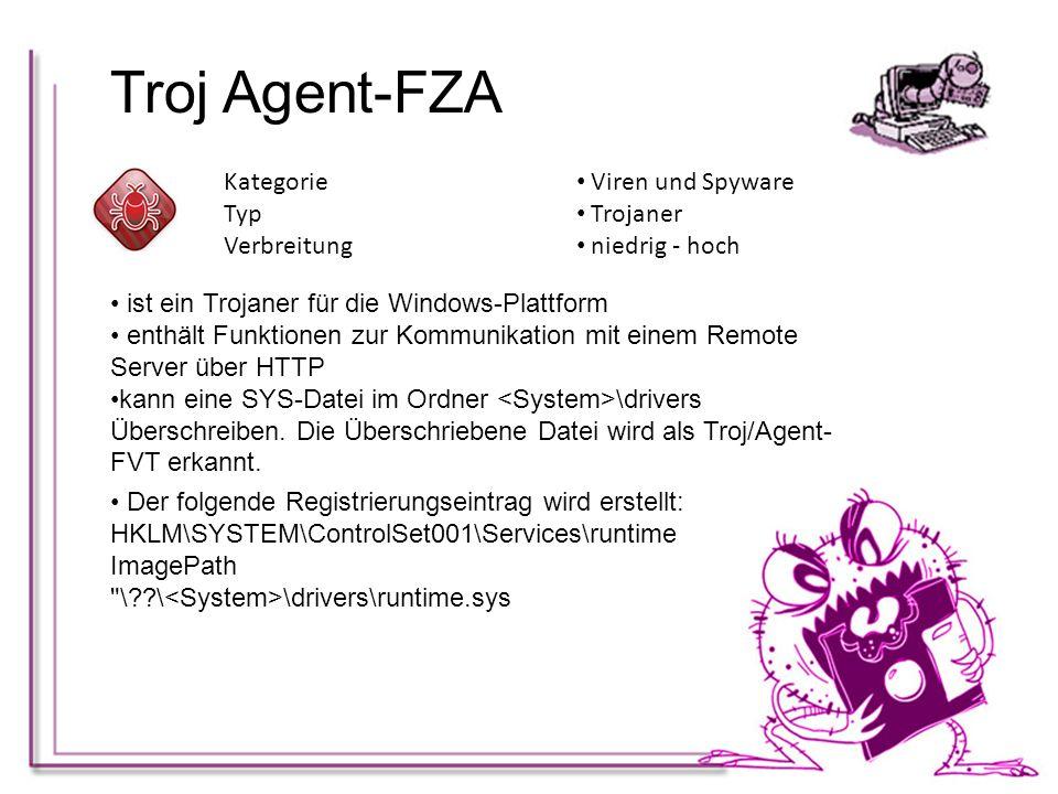 Troj Agent-FZA Kategorie Viren und Spyware Typ Trojaner Verbreitung niedrig - hoch ist ein Trojaner für die Windows-Plattform enthält Funktionen zur K