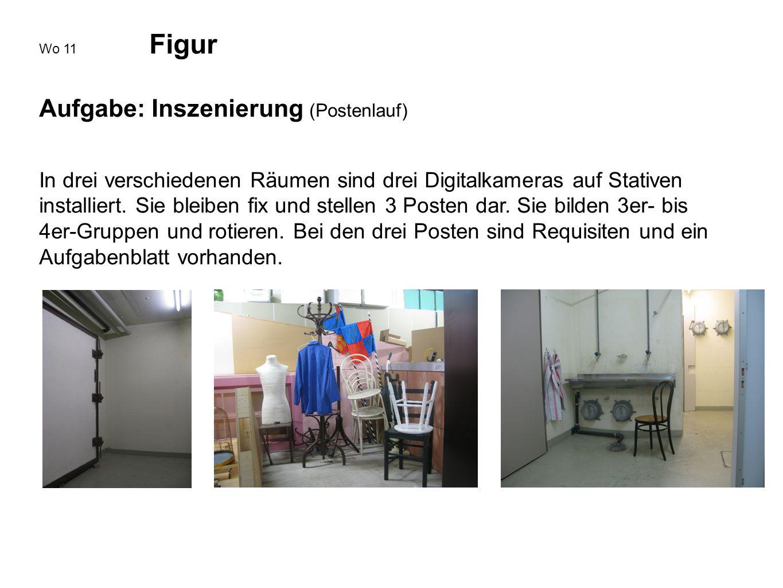 Wo 11 Figur Aufgabe: Inszenierung (Postenlauf) In drei verschiedenen Räumen sind drei Digitalkameras auf Stativen installiert. Sie bleiben fix und ste