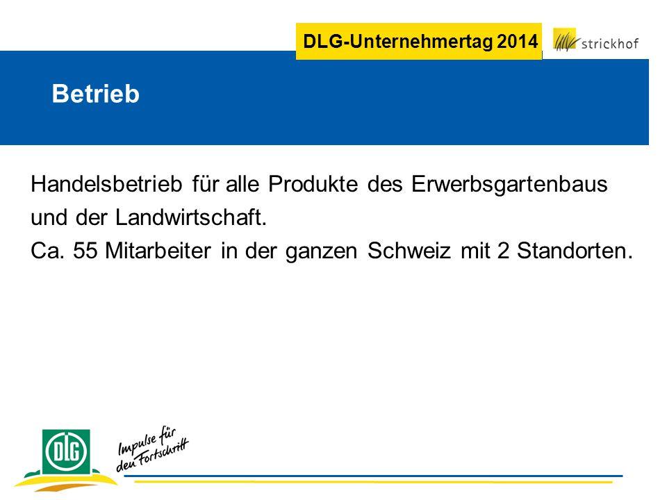 DLG-Unternehmertag 2014 Betrieb Handelsbetrieb für alle Produkte des Erwerbsgartenbaus und der Landwirtschaft. Ca. 55 Mitarbeiter in der ganzen Schwei