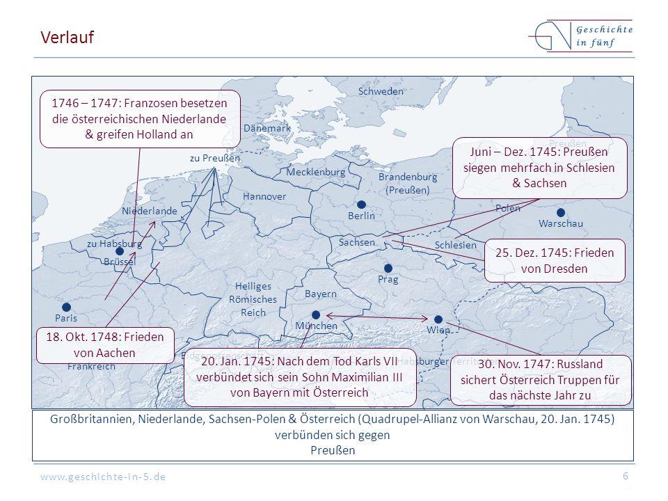 www.geschichte-in-5.de Großbritannien, Niederlande, Sachsen-Polen & Österreich (Quadrupel-Allianz von Warschau, 20. Jan. 1745) verbünden sich gegen Pr