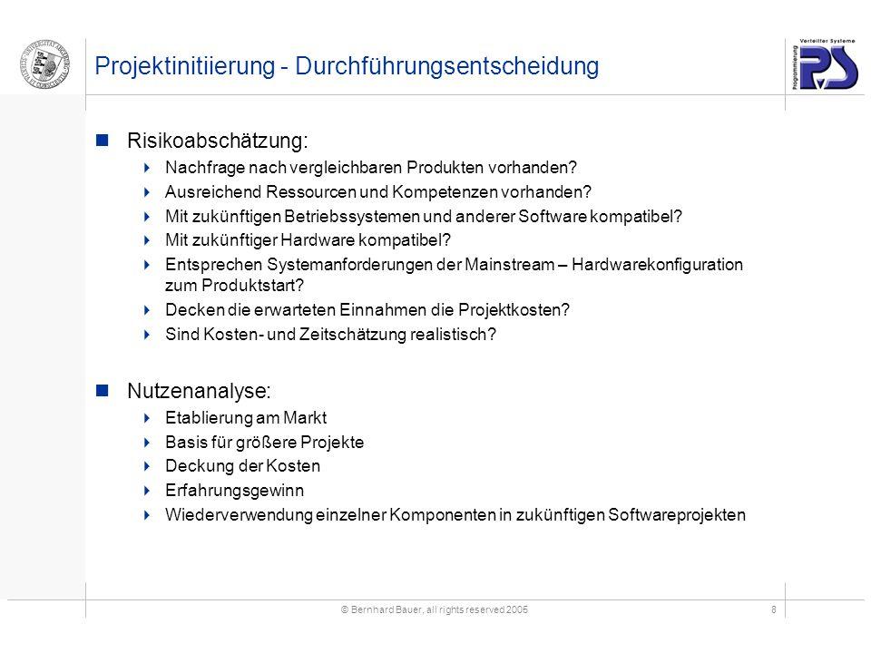 © Bernhard Bauer, all rights reserved 20058 Projektinitiierung - Durchführungsentscheidung Risikoabschätzung:  Nachfrage nach vergleichbaren Produkten vorhanden.