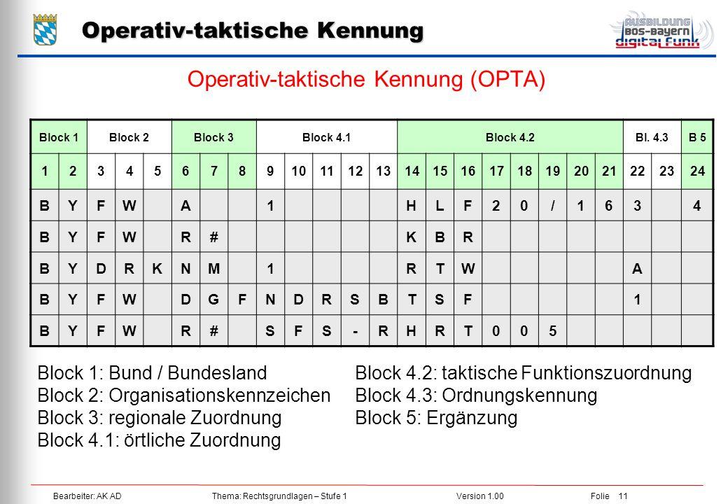 Bearbeiter: AK ADThema: Rechtsgrundlagen – Stufe 1Version 1.00Folie 11 Operativ-taktische Kennung Operativ-taktische Kennung (OPTA) Block 1Block 2Bloc