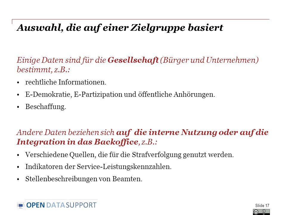 Auswahl, die auf einer Zielgruppe basiert Einige Daten sind für die Gesellschaft (Bürger und Unternehmen) bestimmt, z.B.: rechtliche Informationen.