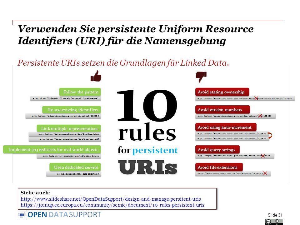 Verwenden Sie persistente Uniform Resource Identifiers (URI) für die Namensgebung Slide 31 Siehe auch: http://www.slideshare.net/OpenDataSupport/design-and-manage-persitent-uris https://joinup.ec.europa.eu/community/semic/document/10-rules-persistent-uris Siehe auch: http://www.slideshare.net/OpenDataSupport/design-and-manage-persitent-uris https://joinup.ec.europa.eu/community/semic/document/10-rules-persistent-uris Persistente URIs setzen die Grundlagen für Linked Data.